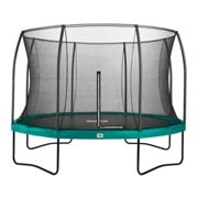 £100 FREE ACCESSORIES - 12ft Salta Green Round Comfort Edition Trampoline with Enclosure