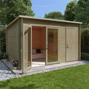 12 x 8 Pressure Treated Log Cabin - BillyOh Tianna Log Cabin Summerhouse with Side Store - 28mm