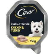 14 x 150g Cesar Classics Wet Dog Food Trays with Chicken & Turkey in Loaf
