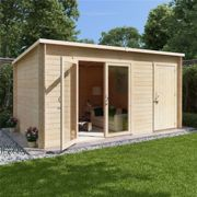 14 x 8 Log Cabin - BillyOh Tianna Log Cabin Summerhouse with Side Store - 28mm