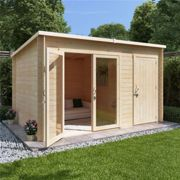 14 x 8 Pressure Treated Log Cabin - BillyOh Tianna Log Cabin Summerhouse with Side Store - 28mm