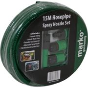 (15M Hose Pipe With Attachments) 15M 30M 50M 75M 100M Garden Hose Pipe Reel Water Hosepipe Reinforced Tough Paths