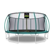 (16 Feet - 488 cm, Dark Green) 6ft 8ft 10ft 12ft 14ft 15ft 16ft Moxie Pumpkin-Shaped Large Outdoor Trampoline Set with Premium Top-Ring Frame Safety Enclosure