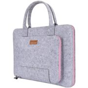 """17.3-Inch Laptop Sleeve Ropch Felt Notebook Bag Computer Carrying Bag for 17.3"""" Acer / Asus / Dell / Lenovo / HP, Grey & Pink"""