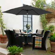 2.5M Round Garden Parasol Outdoor Patio Sun Shade Umbrella with Tilt Crank UV protection - Black