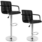 2 bar stools Harald made of artificial leather - black
