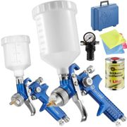 2 HVLP paint spray guns (0.8+ 1.3 mm) + silicone remover - blue