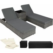 2 sunloungers + table with protective cover rattan aluminium - reclining sun lounger, garden lounge chair, sun chair - grey