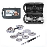 20kg Cast Iron Adjustable Dumbbell Set - Hand Weight Lifting CHROME