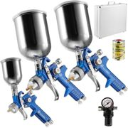 3 HVLP paint spray guns (0.8 + 1.3 + 1.7 mm) + case + silicone remover - blue