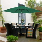 3M Round Garden Parasol Outdoor Patio Sun Shade Umbrella with Tilt Crank Green