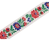 5m White Tapestry Jacquard / Folk Costume Ribbon Width 35 Cm, & Woven Patterned Ribbons, Trimming Ribbons, And Insertion Piping, Haberdasher