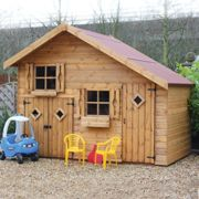 5x10 Traditional 2 Storey Kids Wooden Playhouse With Double Doors