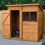 6' x 4' Forest Kielder Overlap Dip Treated Pent Wooden Shed (1.98m x 1.39m)