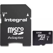 64GB Integral Ultima Pro microSDXC CL10 (90MB/s) High-Speed Memory Card w/Adapter