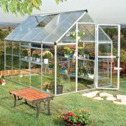 6'x10' Palram Hybrid Large Walk In Silver Polycarbonate Greenhouse