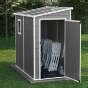 6x4 Newport Lean To Plastic Shed - Light Grey With Floor BillyOh Light Grey