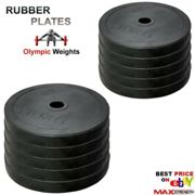 """(7.5kg x 4 = 30kg) Weightlifting 2"""" Rubber Olympic Disc 5cm Weights Plates Powerlifting Bar Gym"""