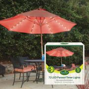 72 LED Garden Parasol Lights Outdoor Table Umbrella Lighting With Timer Function