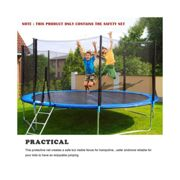 8FT 6 Poles Trampoline Replacement Safety Net Enclosure Surround Netting