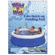 """8ft Round Inflatable Family Garden Swimming Paddling Pool 25"""" Deep Easy Set Up 101000"""