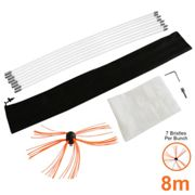 (8m) Chimney Cleaning Brush Kit Drill Powered Cleaner Rotary Sweeping Brush