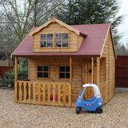 8x10 Traditional Swiss Cottage Kids Wooden Playhouse With Veranda