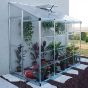 8'x4' Palram Hybrid Silver Lean To Wall Walk In Greenhouse