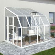 8'x8' Palram Rion White Sun Room Walk In Wall Greenhouse