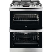 AEG 60cm Double Oven Dual Fuel Cooker with Lid - Stainless Steel
