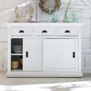 Allthorp Solid Wood Sideboard In White With 2 Sliding Doors
