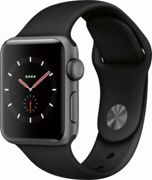 Apple Watch Series 3, GPS, 38mm Space Grey Aluminium Case with Sport Band, Black