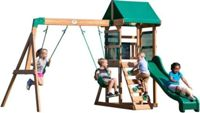 Backyard Discovery Buckley Hill Play Tower With Swings - Climbing Wall - Green Slide