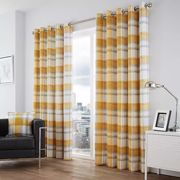 Balmoral Pair of Eyelet Lined Curtains Ochre 167 x 182 cm