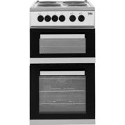 Beko KD533AS 50cm Electric Cooker with Solid Plate Hob - Silver - A Rated