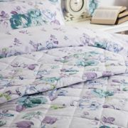 Belledorm Melody Quilted Bedspread (Double) (White/Purple/Green)