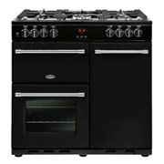 Belling Farmhouse FH90DFTBK 90cm Dual Fuel Range Cooker-Black