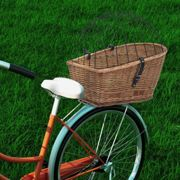 Bike Rear Basket with Cover 55x31x36 cm Natural Willow