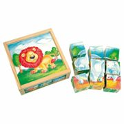 Bino wooden toys picture cubes wild animals 9 pcs