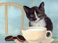 Black White Kitten Milk Cup Cookie Cat Pet Kitty Animal, 1pc Kitten Pet Animal Acrylic Diy Painting By Number Hobby Kit Home Wall Picture Decor Arts