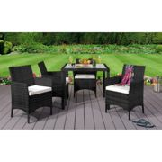 (Black, Without Cover) 5PC Rattan Dining Set Garden Patio Furniture - 4 Chairs & Square Table