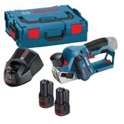Bosch Gho 12V-20 Brushless Cordless Compact Planer 56Mm Inc 2X Gba 12V 3.0Ah Batteries, Gal 1230 Cv Fast Charger In L-Boxx Carry Case 0 601 5A7 071