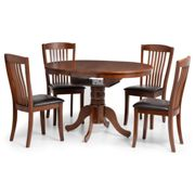 Julian Bowen Canterbury Round/Oval 90-120 Cm Extending Dining Table And 4 Chairs Mahogany