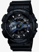 Casio G-Shock Classic Dual Display Chronograph Black Plastic Strap Watch GA-110-1BER