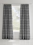 Catherine Lansfield Kelso Check Lined Pencil Pleat Curtains Charcoal