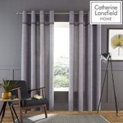 Catherine Lansfield Melville Woven Texture 90 x 90 Inch Eyelet Curtain Pair Grey