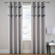 Catherine Lansfield Silver Sequin Cluster Eyelet Curtains Silver