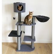 Catwalk Collection Charcoal Felt Cat Triple Tower - One Size