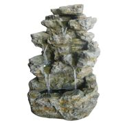 Charles Bentley Stone Effect Water Feature with White LED Lights