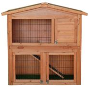 Charles Bentley Two Storey Rabbit Hutch With Play Area Grey/Light Brown Light Brown